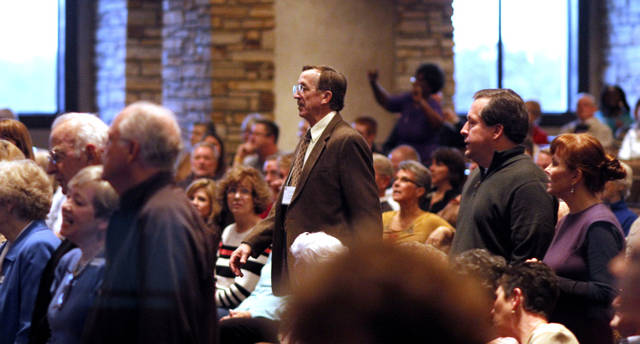 Tom Laubert, with Presbyterian Church (USA) returns to the sanctuary after the vote has been tallied at First Presbyterian Church of Edmond Sunday, January 27, 2013. Photo by Doug Hoke, The Oklahoman