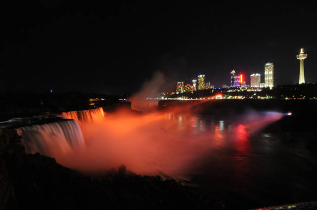 The tourism season at Niagara Falls picks up every November when guests can watch an array of colors that illuminate the mist. AP photo