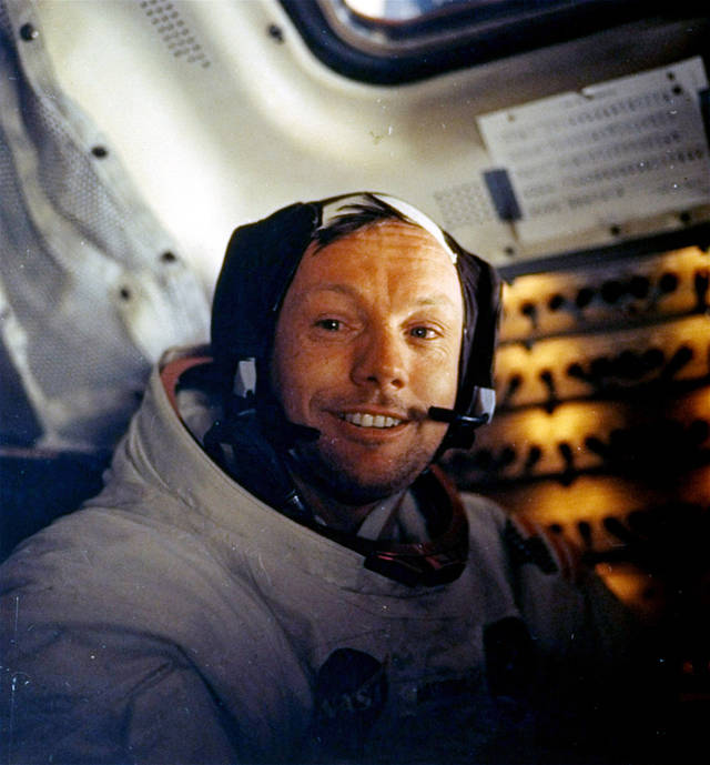 "FILE - This July 20, 1969 file photo provided by NASA shows Neil Armstrong. The family of Neil Armstrong, the first man to walk on the moon, says he died Saturday, Aug. 25, 2012, at age 82. A statement from the family says he died following complications resulting from cardiovascular procedures. It doesn't say where he died. Armstrong commanded the Apollo 11 spacecraft that landed on the moon July 20, 1969. He radioed back to Earth the historic news of ""one giant leap for mankind."" Armstrong and fellow astronaut Edwin ""Buzz"" Aldrin spent nearly three hours walking on the moon, collecting samples, conducting experiments and taking photographs. In all, 12 Americans walked on the moon from 1969 to 1972. (AP Photo/NASA)"