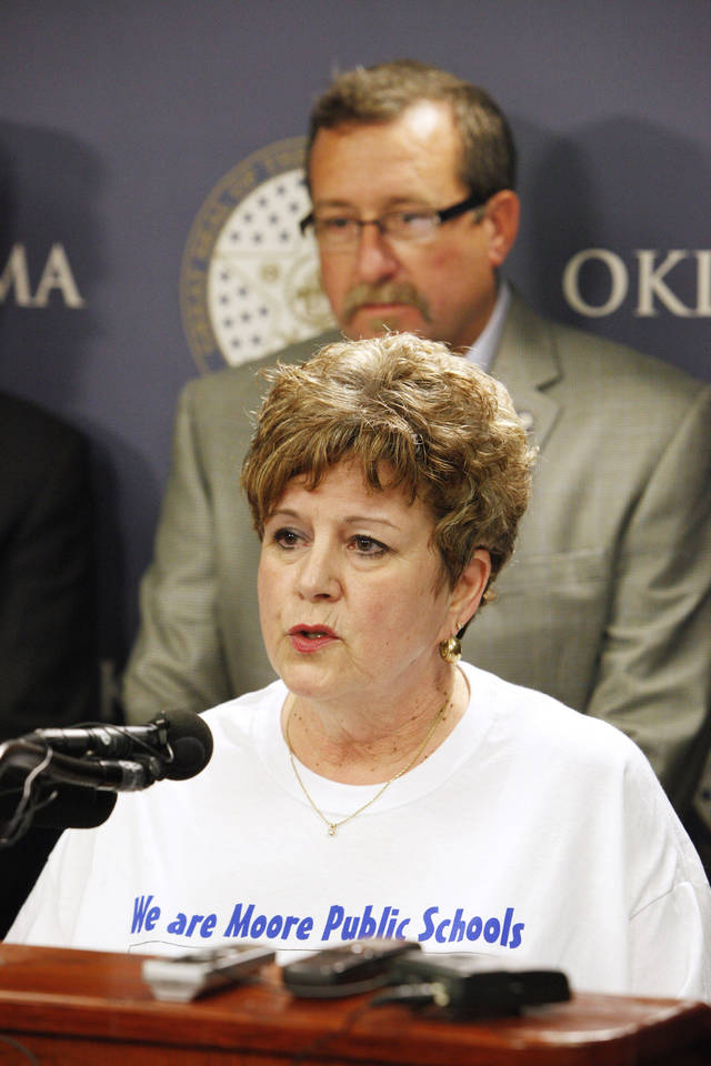 Susan Pierce, then superintendent of Moore Public Schools, speaks during a news conference in May announcing the formation of Shelter Oklahoma Schools. Photo by Paul B. Southerland,  The Oklahoman