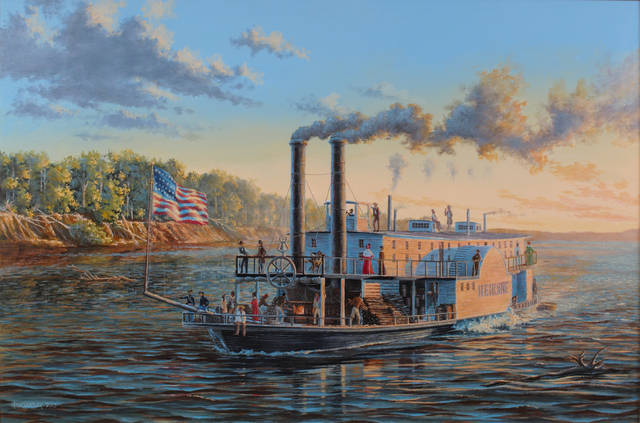 "For the Oklahoma History Center's new ""Steamboat Heroine"" exhibit, the state historical society commissioned Peter Rindlisbacher, an internally recognized Canadian marine artist known for his detailed and evocative illustrations of sailing ships and steamboats, to create the painting ""Steamboat Heroine."" Rindlisbacher worked closely with the archaeologists who excavated the Heroine and studied the three-dimensional artist?s model of the boat to create the historically accurate painting."
