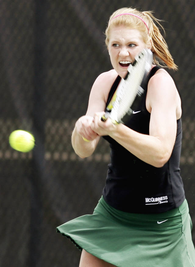 Emily Conrad of Bishop McGuinness competes in the Class 5A girls No. 2 singles final Saturday at the Oklahoma City Tennis Center. Photo by Nate Billings, The Oklahoman