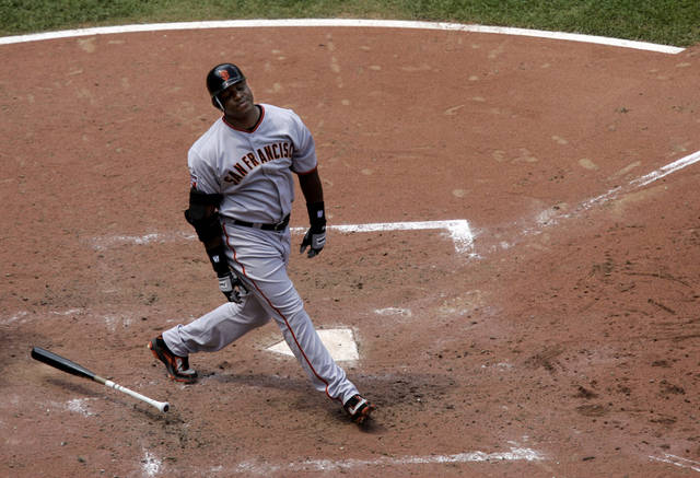 FILE - This July 8, 2007 file photo shows San Francisco Giants' Barry Bonds reacting to flying out during the sixth inning of a baseball game in St. Louis. With the cloud of steroids shrouding many candidacies, baseball writers may fail for the only the second time in more than four decades to elect anyone to the Hall, Wednesday, Jan. 9, 2013. (AP Photo/Jeff Roberson, File)
