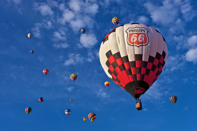 A hot air balloon displays a Phillips 66 sign. PHOTO PROVIDED