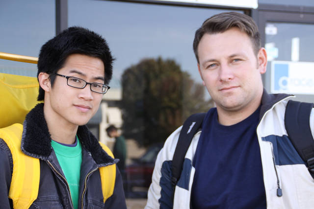 Philip Nguyen, left, youth minister, and Dusty Buff, pastor of Grace Church in Norman, stand in front of the church before beginning a 10-day sojourn among the homeless. PHOTO PROVIDED BY DUSTY BUFF