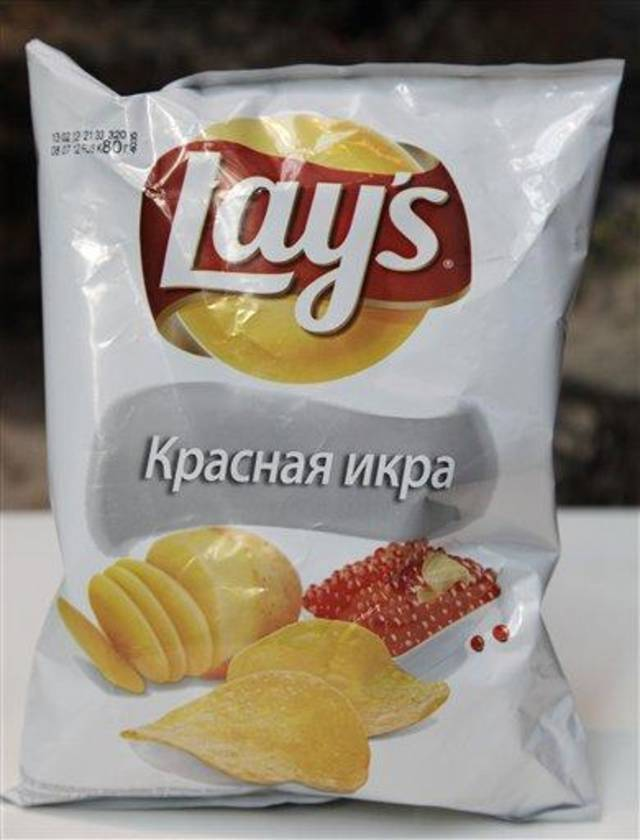 This March 14, 2012, photo shows a package of Lays caviar potato chips in New York. While Americans might get squeamish at the thought of their favorite snacks being tweaked, what works in the U.S. doesn't work everywhere. Tastes can vary greatly in unexpected ways in different corners of the world. (AP Photo/Mark Lennihan)