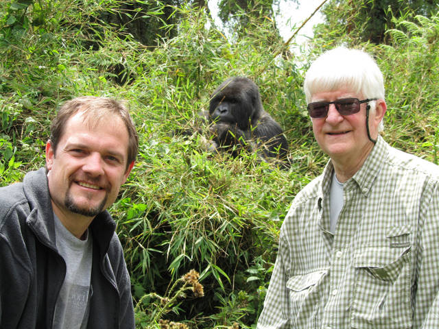 Oklahoma City Zoo Executive Director Dwight Scott, left, and former Zoo Trust board member Kent Williams visited Rwanda last year. Scott is a board member of the Dian Fossey Gorilla Fund. Photo provided