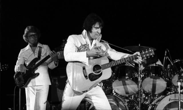 Rock star Elvis Presley performs in concert at the Lloyd Noble Center in Norman March 25, 1977.  Staff Photo by Paul Southerland