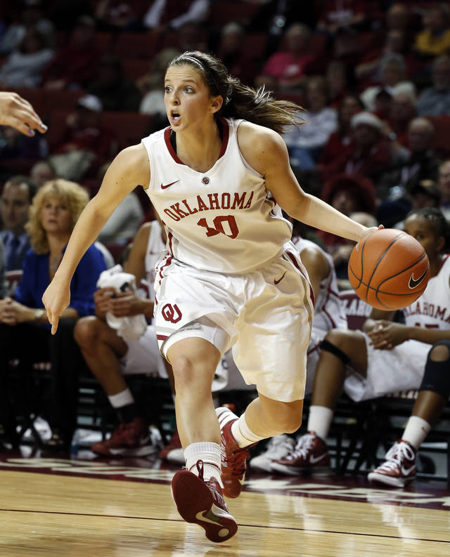 Oklahoma&#039;s Morgan Hook (10) looks to pass during the second half as the University of Oklahoma Sooners (OU) play the Riverside Highlanders in NCAA, women&#039;s college basketball at The Lloyd Noble Center on Thursday, Dec. 20, 2012  in Norman, Okla. Photo by Steve Sisney, The Oklahoman