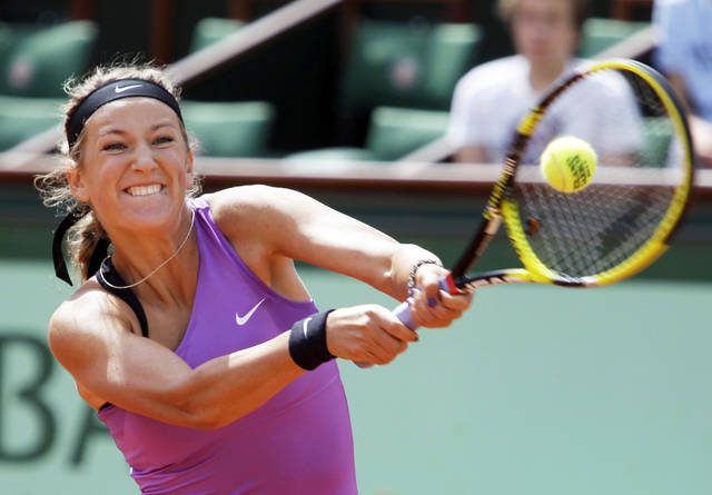 No. 4-seeded Victoria Azarenka of Belarus defeated No. 30-seeded Roberta Vinci of Italy during the third round of the French Open tennis tournament, at the Roland Garros stadium in Paris on Saturday. AP Photo