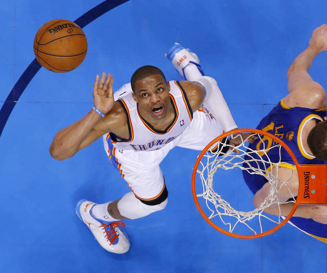 Oklahoma City's Russell Westbrook (0) watches his shot behind Golden State's David Lee (10) during an NBA basketball game between the Oklahoma City Thunder and the Golden State Warriors at Chesapeake Energy Arena in Oklahoma City, Wednesday, Feb. 6, 2013. Photo by Bryan Terry, The Oklahoman