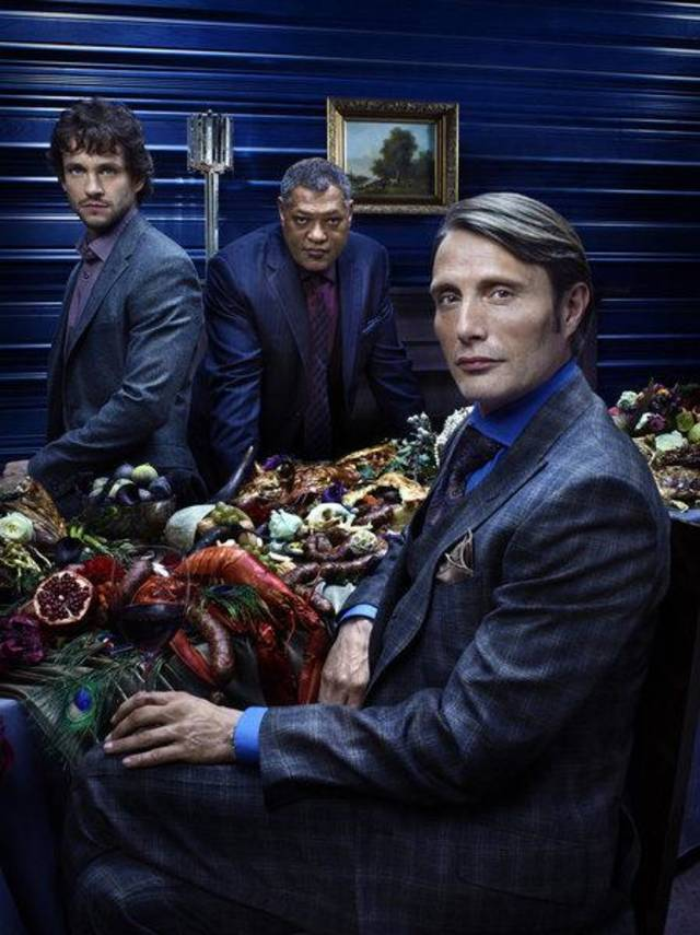 HANNIBAL -- Season: 1 -- Pictured: (l-r) Hugh Dancy as Special Agent Will Graham, Laurence Fishburne as Agent Jack Crawford, Mads Mikkelsen as Dr. Hannibal Lecter -- (Photo by: Robert Trachtenberg/NBC)