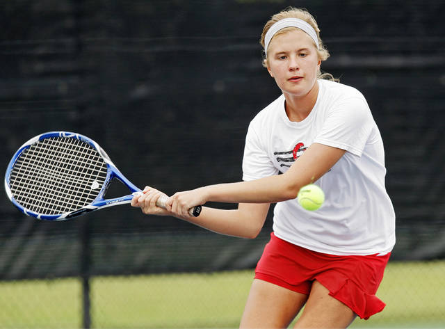 Claremore's Madison Mosier competes in a Class 5A #1 Doubles match during the girls state high school tennis tournament at the Oklahoma City Tennis Center in Oklahoma City, Friday, May 4, 2012. Photo by Nate Billings, The Oklahoman