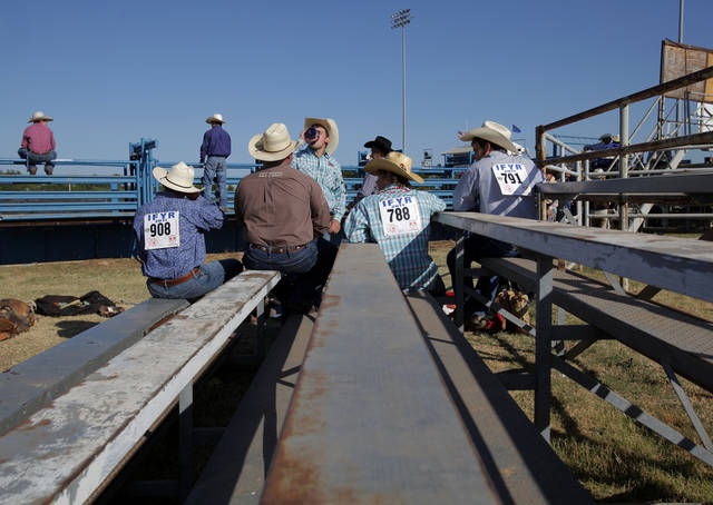 Competitors gather before the beginning of the competitions during the International Finals Youth Rodeo, Monday, July 11, 2011.  Photo by Garett Fisbeck, The Oklahoman