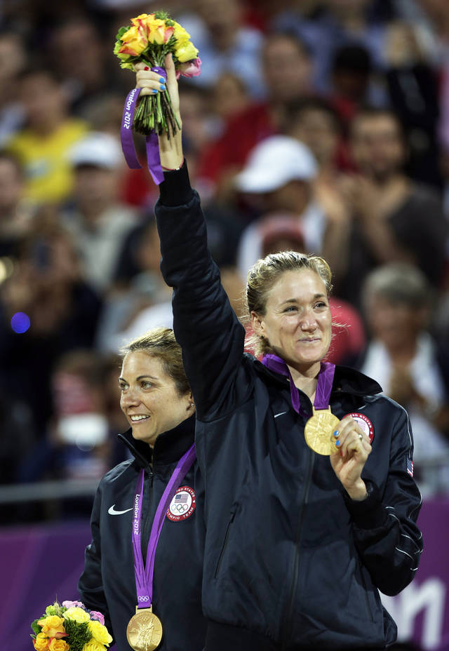 The United States' Missy May Treanor, left, and Kerri Walsh Jennings won another gold in beach volleyball.  AP photo