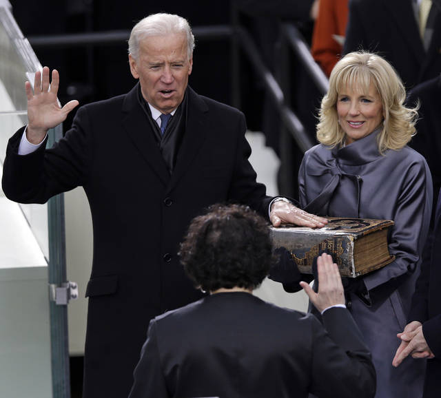Vice President Joe Biden takes the oath of office from Associate Justice Sonia Sotomayor as Jill Biden looks on during the ceremonial swearing-in at the U.S. Capitol during the 57th Presidential Inauguration in Washington, Monday, Jan. 21, 2013. (AP Photo/Evan Vucci)  ORG XMIT: CAP351