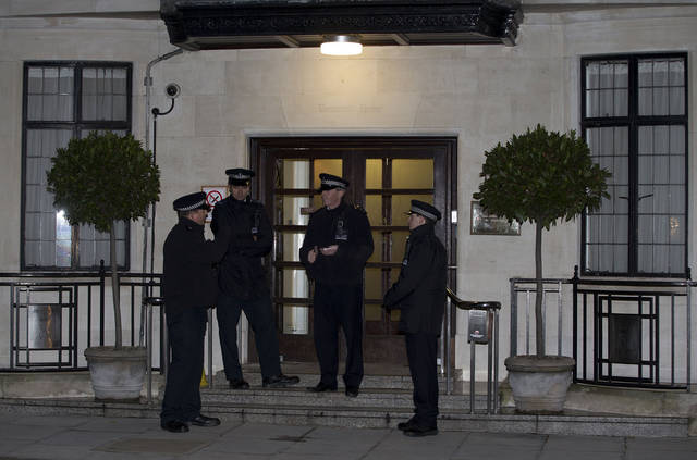 "Policemen stand guard outside the King Edward VII hospital where the Duchess of Cambridge has been admitted with a severe form of morning sickness,  in London, Monday, Dec.  3, 2012. Prince William and his wife Kate are expecting their first child. St. James's Palace announced the pregnancy Monday, saying that the Duchess of Cambridge � formerly known as Kate Middleton � has a severe form of morning sickness and is currently in a London hospital. William is at his wife's side. The palace said since the pregnancy is in its ""very early stages,"" the 30-year-old duchess is expected to stay in the hospital for several days and will require a period of rest afterward. (AP Photo/Alastair Grant)"
