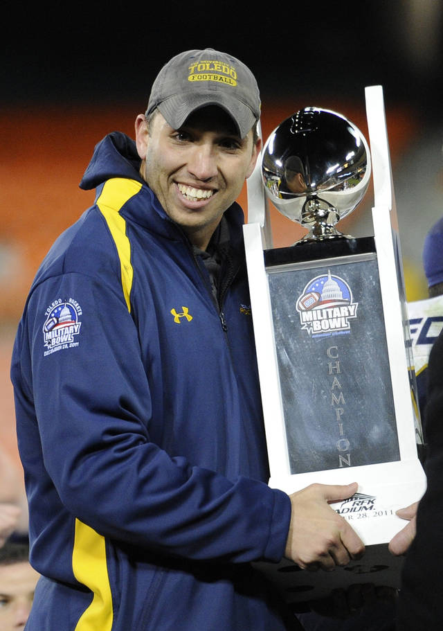 <b>25. MATT CAMPBELL, TOLEDO</b> <br /> Matt Campbell replaces Tim Beckman. Maybe Campbell will become Knute Rockne, Bear Bryant and Bud Wilkinson, all rolled into one. But he's 32 years old. He graduated from Mount Union College in 2002, was a graduate assistant at Bowling Green for two years, was Mount Union's (NCAA Division III) offensive coordinator in 2005, Bowling Green's offensive line coach for three years, Toledo's offensive coordinator for three years and on Sept. 1 will be the head coach of a team that plays at Arizona and Rich Rodriguez. I know everyone is looking for a football version of Butler's Brad Stevens. But I don't think such a thing exists.