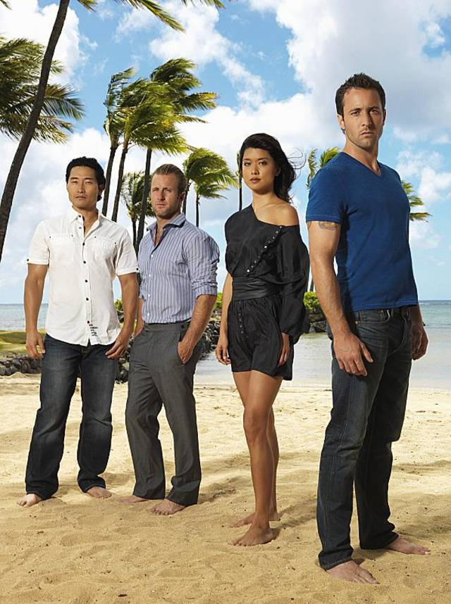 "From left, Daniel Dae Kim, Scott Caan, Grace Park and Alex O'Loughlin of the CBS series ""HAWAII FIVE-O.""- Photo by Kevin Lynch/CBS ©2011 CBS BROADCASTING INC. ALL RIGHTS RESERVED  #H50"