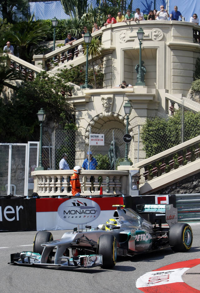 Mercedes Grand Prix driver Nico Rosberg of Germany steers his car during the third practice session at the Monaco racetrack, in Monaco, Saturday, May 26, 2012. The Formula one race will be held on Sunday. (AP Photo/Christian Lutz)