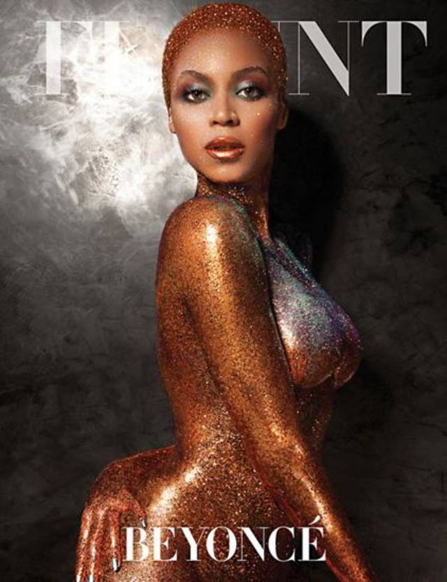 Beyonce poses nude, covered in glitter, for the cover of Flaunt Magazine.