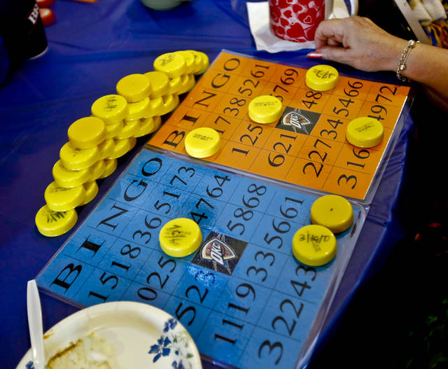 Bingo cards begin to fill up during the Oklahoma City Thunder's 1000th community appearance at Ranchwood Nursing Home on Tuesday, Nov. 27, 2012, in Yukon, Okla.   Photo by Chris Landsberger, The Oklahoman