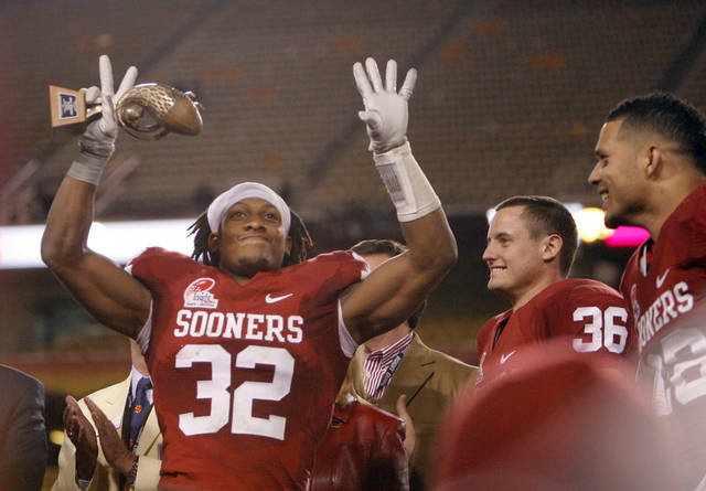 Oklahoma's Jamell Fleming (32) celebrates the Sooner's win in the Insight Bowl college football game between the University of Oklahoma (OU) Sooners and the Iowa Hawkeyes at Sun Devil Stadium in Tempe, Ariz., Friday, Dec. 30, 2011. Photo by Sarah Phipps, The Oklahoman