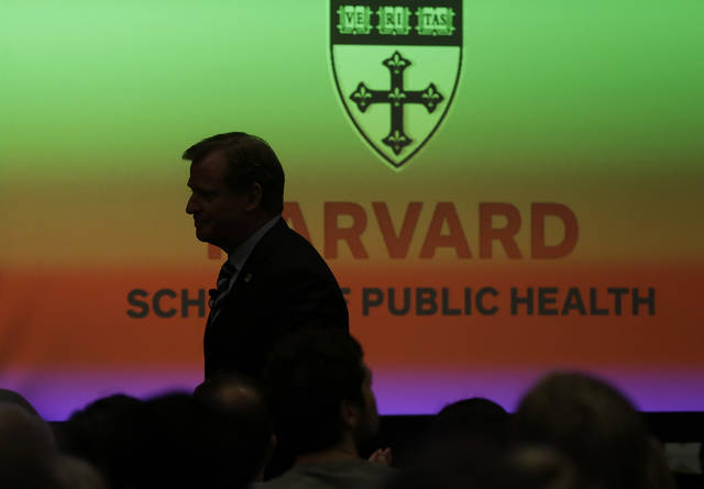NFL football commissioner Roger Goodell heads to the podium to deliver a Dean�s Distinguished Lecture at Harvard School of Public Health in Boston, Thursday, Nov. 15, 2012, where he discussed some of the rules that have been created to limit concussions in the game of football. Goodell said the league will do what it needs to do to protect the safety of its 1,800 players. (AP Photo/Elise Amendola)