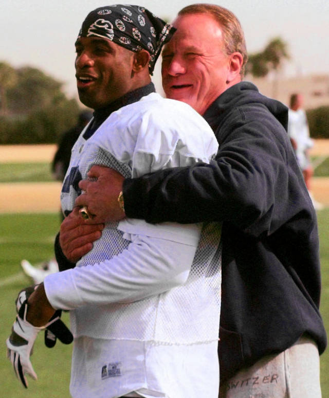 "<strong>Happy Birthday wish from Deion Sanders, former Dallas Cowboy cornerback: </strong><br> <i>""(Happy Birthday to) the best head coach I ever played for, professional-wise. I remember the look on his face in the last game that I knew he was gonna coach the Cowboys. I'll never forget that look and the pain and anguish I had because I knew that was it.""</i><br> <br /> <strong>1996: Switzer and PrimeTime</strong><br> In this 1996 photo, Switzer goofs around with Cowboys cornerback Deion Sanders after practice. OKLAHOMAN ARCHIVE PHOTO"