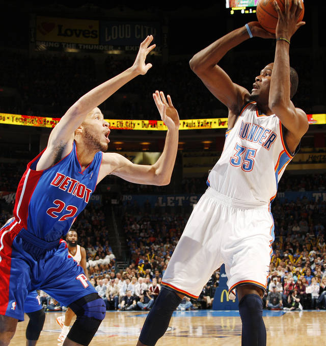 Oklahoma City's Kevin Durant (35) shoots over Tayshaun Prince (22) of Detroit during the NBA basketball game between the Detroit Pistons and Oklahoma City Thunder at the Chesapeake Energy Arena in Oklahoma City, Monday, Jan. 23, 2012. Photo by Nate Billings, The Oklahoman