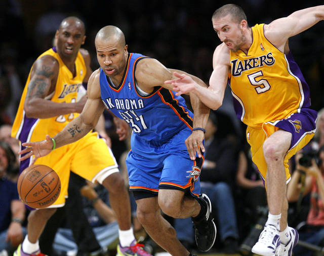 LOS ANGELES LAKERS: Oklahoma City's Derek Fisher (37) and Los Angeles' Steve Blake (5) scramble for a loose ball during Game 4 in the second round of the NBA basketball playoffs between the L.A. Lakers and the Oklahoma City Thunder at the Staples Center in Los Angeles, Saturday, May 19, 2012. PHOTO BY NATE BILLINGS, The Oklahoman