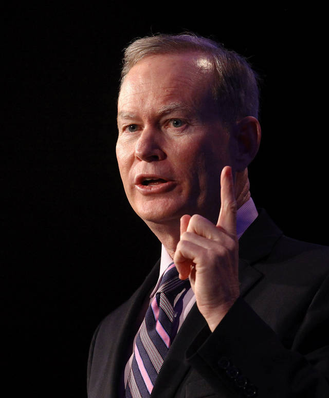 Oklahoma City Mayor Mick Cornett touts recent successes and future goals of the city he leads  during his 2013 State of the City address Thursday, Jan. 24, 2013.  Officials with the Greater Oklahoma City Chamber, host of the luncheon, said a record audience of 1500 attended the annual event, held in the Cox Convention Center in downtown Oklahoma City  Photo by Jim Beckel, The Oklahoman