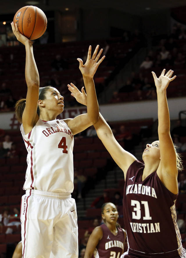 OU's Nicole Griffin (4) shoots over Makenzie Brown (31) of Oklahoma Christian during a women's college basketball exhibition game between the University of Oklahoma and Oklahoma Christian University at the Lloyd Noble Center in Norman, Okla., Thursday, Nov. 1, 2012. Photo by Nate Billings, The Oklahoman