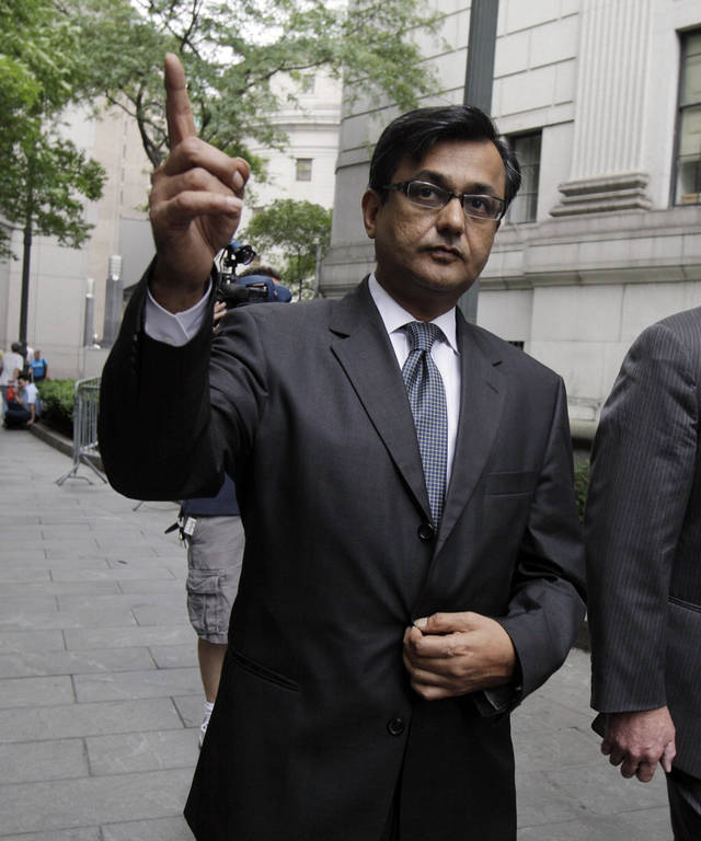 Anil Kumar, a former financial consultant-turned-government witness, leaves Federal Court in New York, Thursday, July 19, 2012. Kumar was sentenced Thursday to two years of probation after prosecutors credited him with helping convict a pair of Wall Street titans on insider trading charges. (AP Photo/Richard Drew)
