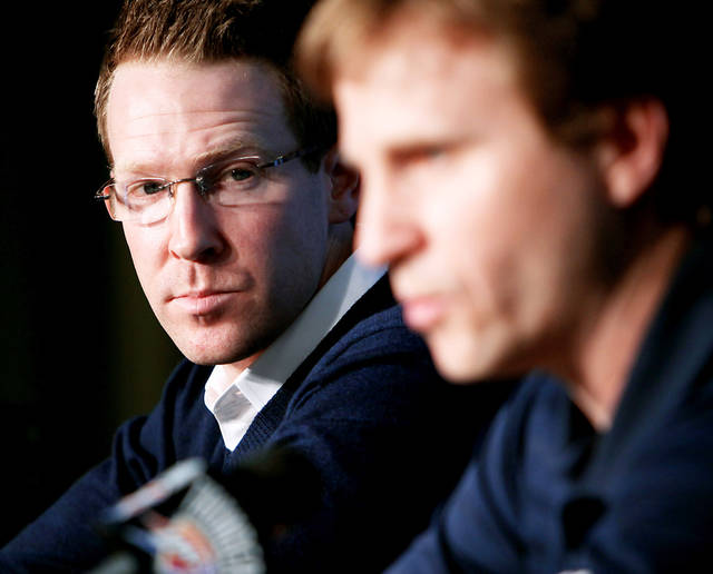 Thunder general manager Sam Presti, left,  isn't trying to win just one championship, he's trying to build a perennial winner. Photo by John Clanton, The Oklahoman