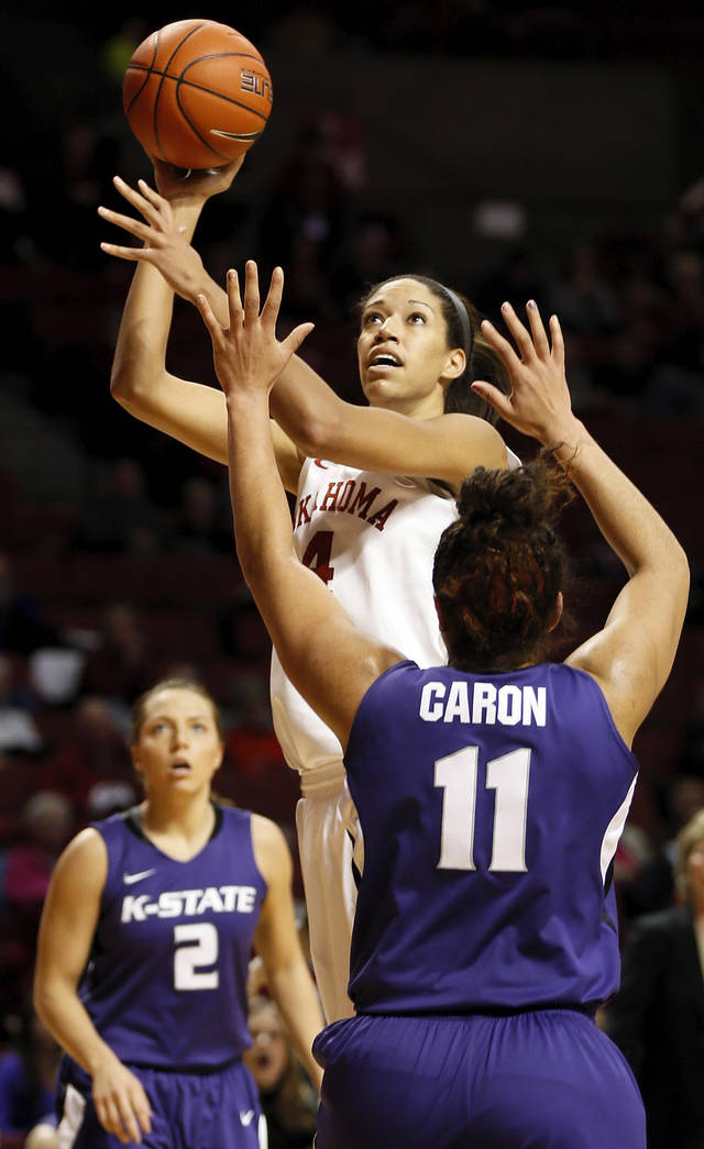 Oklahoma's Nicole Griffin (4) shoots between Kansas State's Brittany Chambers (2) and Chantay Caron (11) during an NCAA women's college basketball game between the University of Oklahoma (OU) and Kansas State at Lloyd Noble Center in Norman, Okla., Wednesday, Feb. 20, 2013. Photo by Nate Billings, The Oklahoman