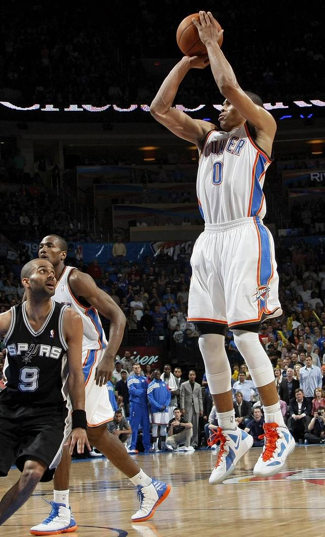 The Thunder's Russell Westbrook shoots a jumper against the Spurs on Friday.  Photo by Nate Billings, The Oklahoman