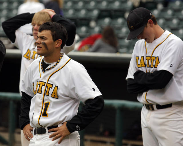 Latta's Brandon Mills reacts to their loss to Dale at the Class A Fall baseball state championships at the Chickasaw Bricktown Ballpark in Oklahoma City,  Saturday, Oct. 6, 2012. Photo by Sarah Phipps, The Oklahoman