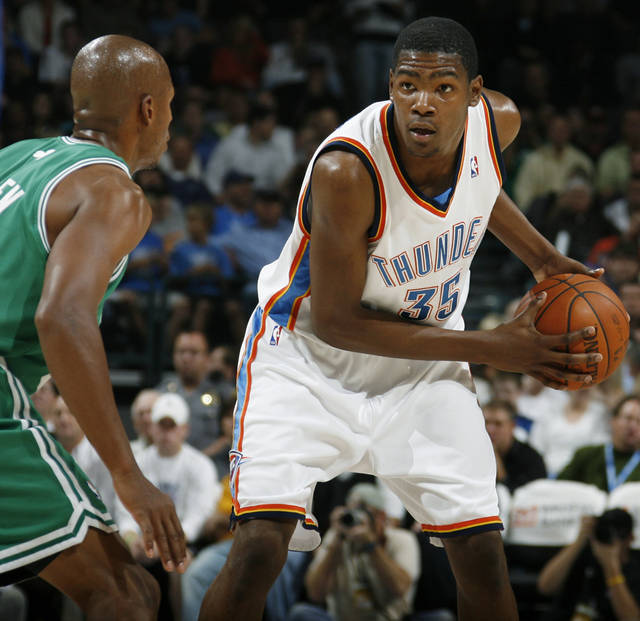 Oklahoma City&#039;s Kevin Durant looks past the defense of Boston&#039;s Ray Allen in the first half during the NBA basketball game between the Oklahoma City Thunder and the Boston Celtics at the Ford Center in Oklahoma City, Wednesday, Nov. 5, 2008. BY NATE BILLINGS, THE OKLAHOMAN