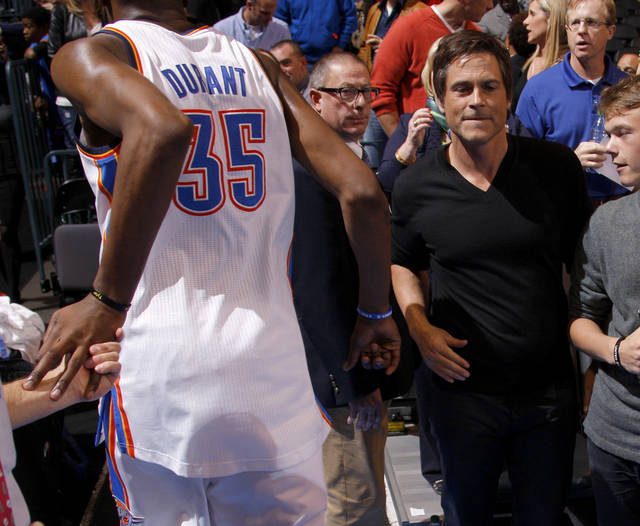 Rob Lowe watches as Oklahoma City's Kevin Durant runs off the court after an NBA basketball game between the Oklahoma City Thunder and the Los Angeles Lakers at Chesapeake Energy Arena in Oklahoma City, Thursday, Feb. 23, 2012.  Oklahoma City won 100-85. Photo by Bryan Terry, The Oklahoman