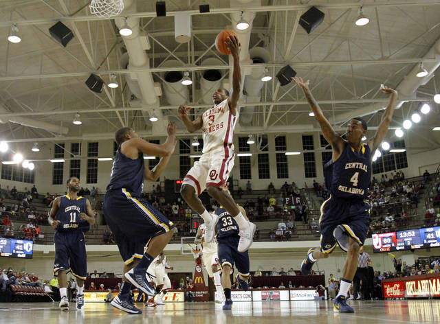 Buddy Hield (3) shoots as the University of Oklahoma (OU) Sooners men's basketball team defeats  the Central Oklahoma Bronchos 94-66 at McCasland Field House on Wednesday, Nov. 7, 2012  in Norman, Okla. Photo by Steve Sisney, The Oklahoman