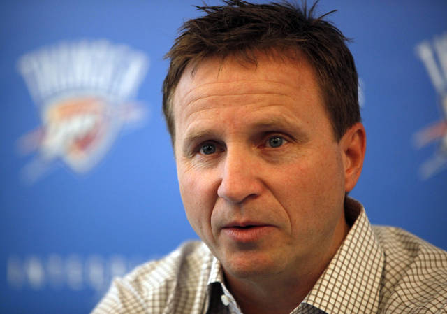 Oklahoma City head coach Scott Brooks talks during a press conference at the Integris Health Thunder Development Center in Oklahoma City,  Saturday, June 23, 2012. Photo by Sarah Phipps, The Oklahoman