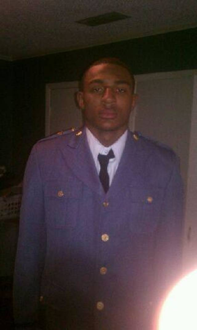 OU freshman receiver Trey Metoyer in his Hargrave Military Academy cadet uniform. PHOTO PROVIDED