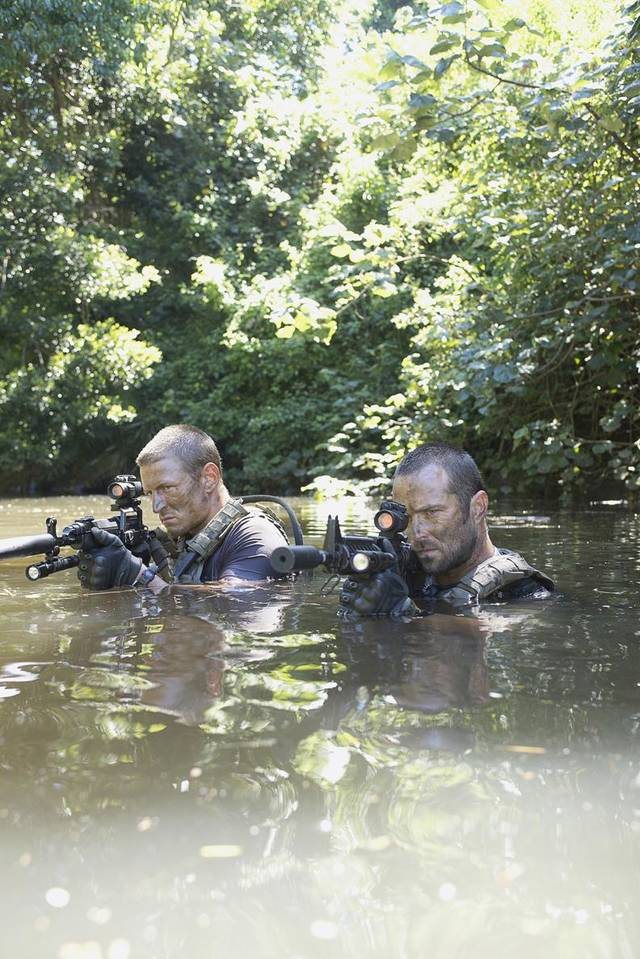 """Strike Back"": Philip Winchester and Sullivan Stapleton. Photo by David Bloomer/Courtesy of HBO"