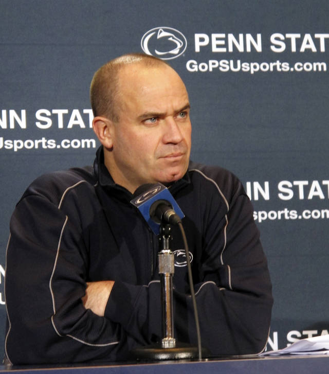 Penn State coach Bill O'Brien listens to a question during his weekly NCAA college football news conference on Tuesday, Oct. 23, 2012, in State College, Pa. The Nittany Lions, who have won five straight, are preparing to host No. 9 Ohio State on Saturday. (AP Photo/Genaro C. Armas)