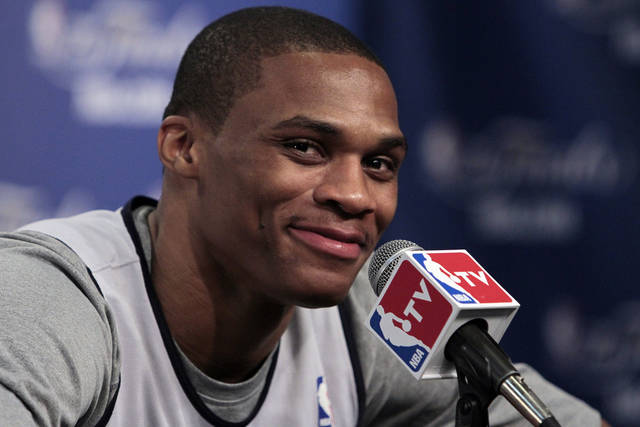 Oklahoma City Thunder point guard Russell Westbrook talks with the media after practice in preparation for game two of the NBA basketball finals at the Chesapeake Arena on Wednesday, June 13, 2012 in Oklahoma City, Okla.  Photo by Steve Sisney, The Oklahoman