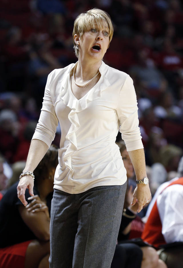 Tech head coach Kristy Curry directs her team as the University of Oklahoma Sooners (OU) play the Texas Tech Lady Red Raiders in NCAA, women's college basketball at The Lloyd Noble Center on Saturday, Jan. 12, 2013 in Norman, Okla. Photo by Steve Sisney, The Oklahoman