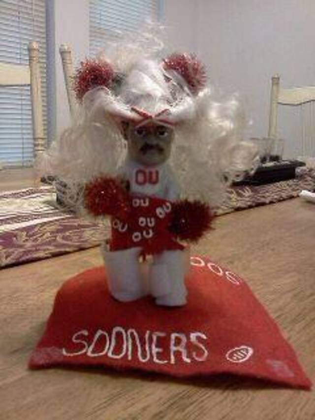 Boomer Sooner!  Pistol Pete as an OU cheerleader
