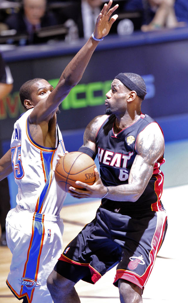 Oklahoma City&#039;s Kevin Durant (35) defends on Miami&#039;s LeBron James (6) during Game 2 of the NBA Finals between the Oklahoma City Thunder and the Miami Heat at Chesapeake Energy Arena in Oklahoma City, Thursday, June 14, 2012. Photo by Chris Landsberger, The Oklahoman