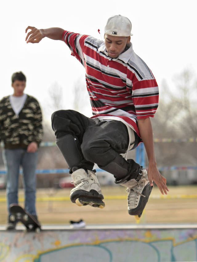Tre Keywood, 19, skates at Blake Baldwin Skate Park as he takes advantage of sun and moderate temperatures on Wednesday, Jan. 18, 2012, in Norman, Okla.  Photo by Steve Sisney, The Oklahoman